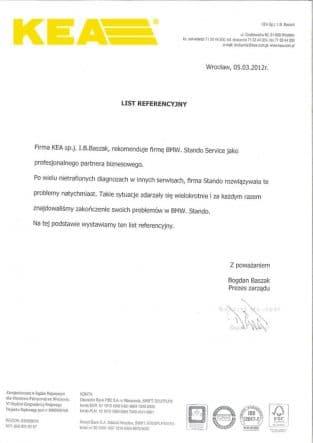 Firma KEA sp.j. I.B.Baszak rekomenduje firmę BMW Stando Service jako profesjonalnego partnera biznesowego