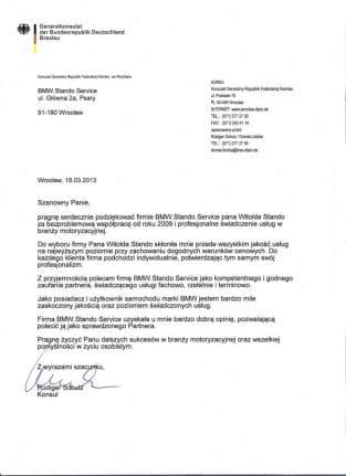Pragnę serdecznie podziękować firmie BMW Stando serwis pana Witolda Stando za bezproblemową współpracę od roku 2009 i profesjonalne świadczenie usług w branży motoryzacyjnej.