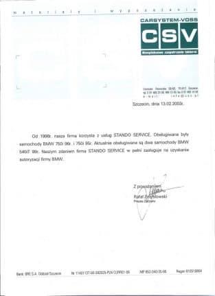 od 1996 nasza firma korzysta z usług STANDO SERVIS z Wrocławia