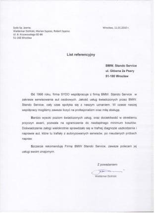 Firma SYDO współpracuje z firmą BMW. Stando Service z Wrocławia w zakresie serwisowania aut osobowych.