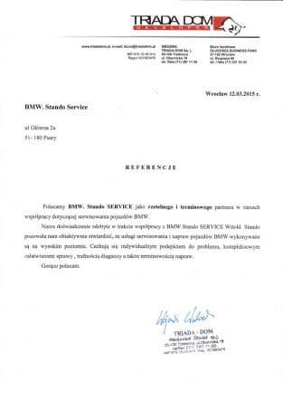 Polecamy BMW Stando Service jako rzetelnego i terminowego partnera w ramach współpracy dotyczącej serwisowania pojazdów BMW we Wrocławiu